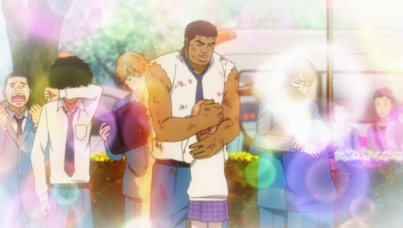 Takeo embraces Yamato while Suna tries to put out the flames on his back (ep 4).